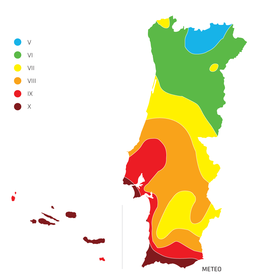 Mapa de intensidade sísmica em Portugal