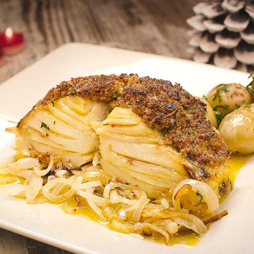 Bacalhau com broa no forno